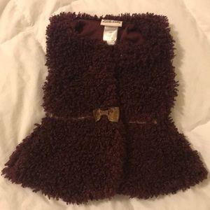 Wine &gold fuzzy vest